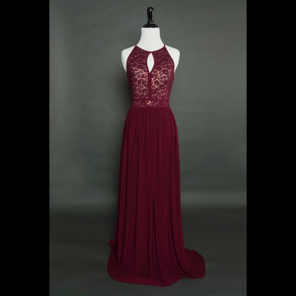 bafc519deb7e Macy's Dresses & Skirts - Lace sequin burgundy maxi prom/bridesmaid dress